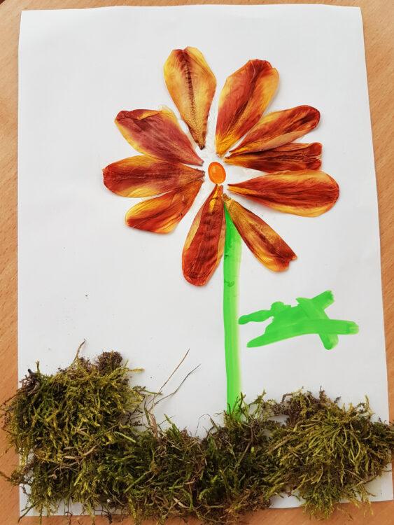Tulpen Fruhlingsblumen Früjahrsblüher Blütenblätter mit Kindern basteln recyceln Blumenbild Blumenwiese Naturmaterialien