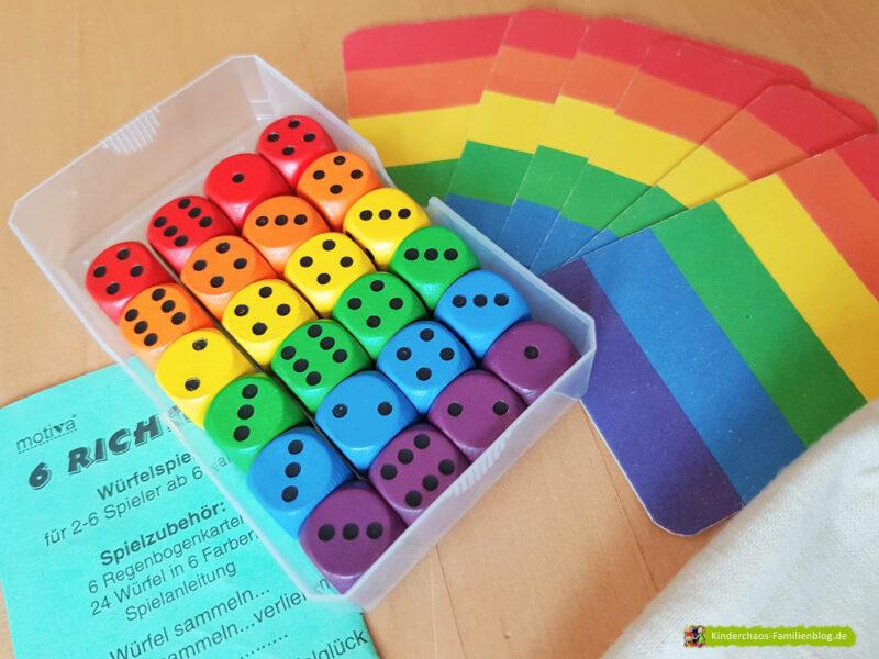 6 Richtige Regenbogenwürfelei 10