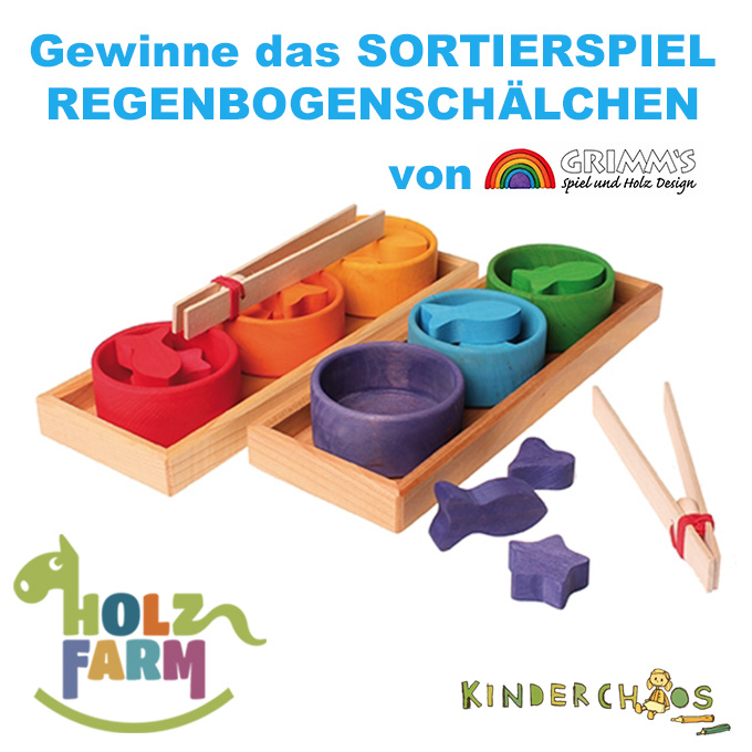 Holzfarm Grimm´s Sortierspiel Regenbogenschälchen Farben Adventskalender