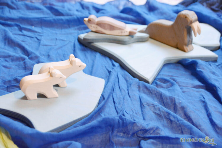 Karthaus Eisbären, Walross und Eisschollen 7tlg. Ostheimer SET Holzspielzeug Holztiere Spielzeug Holz
