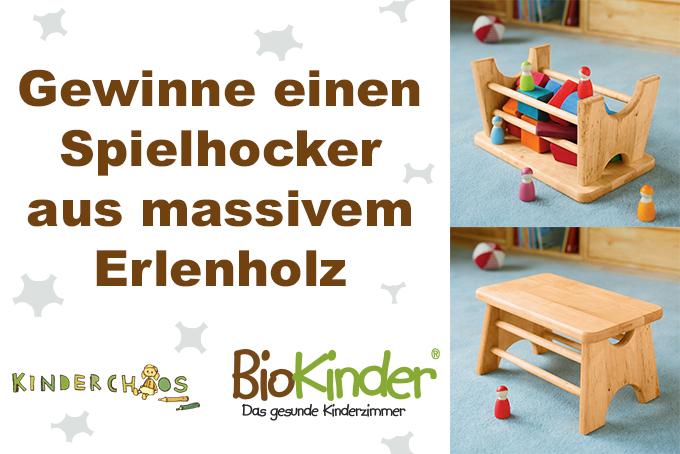 Tritthocker Spielhocker BioKinder massiv Erle Erlenholz Erlenholmöbel Möbel Kinderzimmer Kinderzimmermöbel Freude