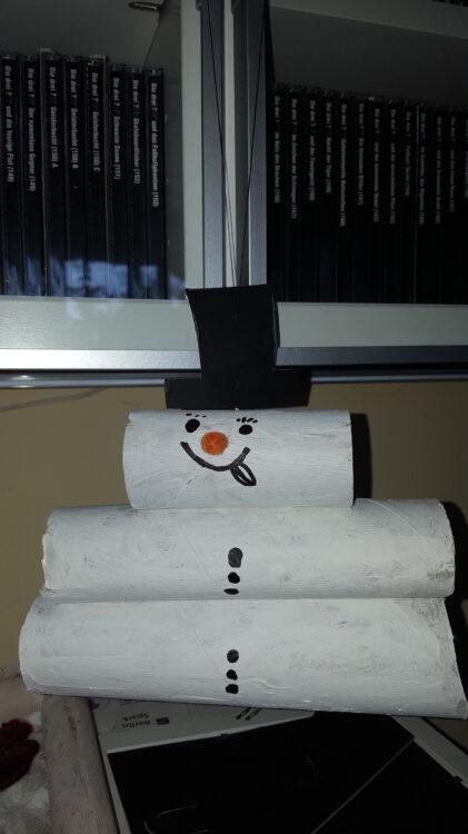 Basteln mit Klopapierrollen Toilettenpapierrollen Küchenpapierrollen Bastelei Schneemann