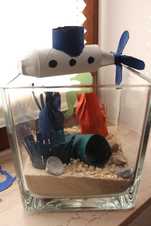Basteln mit Klopapierrollen Toilettenpapierrollen Küchenpapierrollen Aquarium