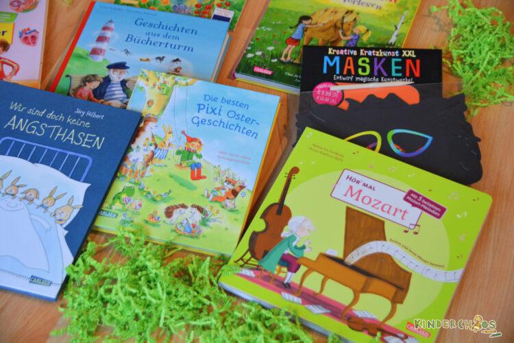 Osternest Carlsen Verlag Kinderbücher Hör Mal Mozart Pixi Oster-Geschichten Kreative Kratzkunst XXL Masken Geschichten aus dem Bücherturm