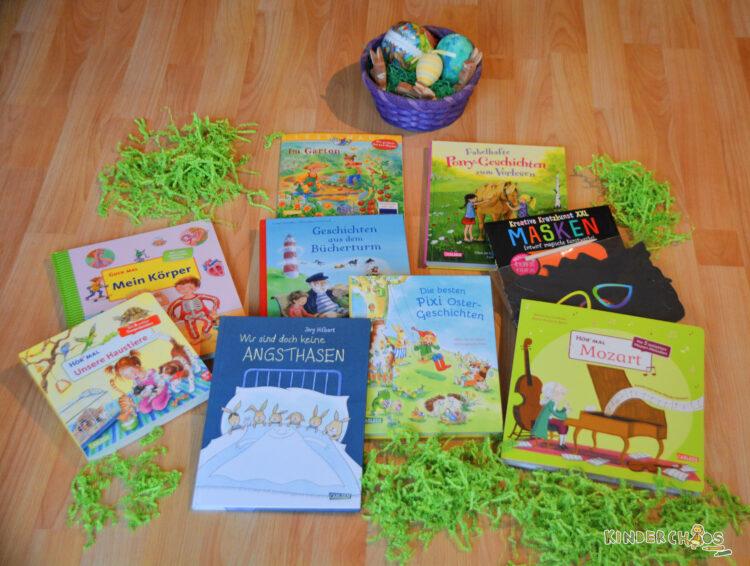 Osternest Carlsen Verlag Kinderbücher Hör Mal Unsere Haustiere Wir sind doch keine Angstasen Mein Körper Mozart Fabelhafte Pony-Geschichten Pixi-Ostergeschichten Bücherturm Der Garten