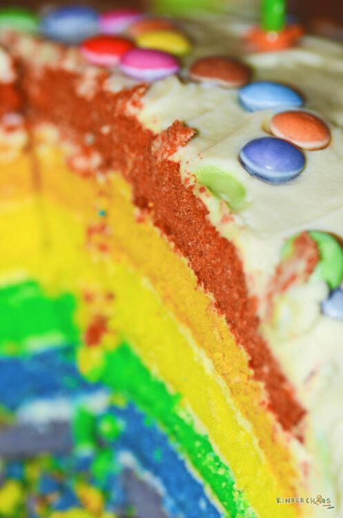 Regenbogentorte Regenbogenkuchen Geburtstagskuchen Geburtstagstorte bunt Kindergeburtstag Geburtstag Kind
