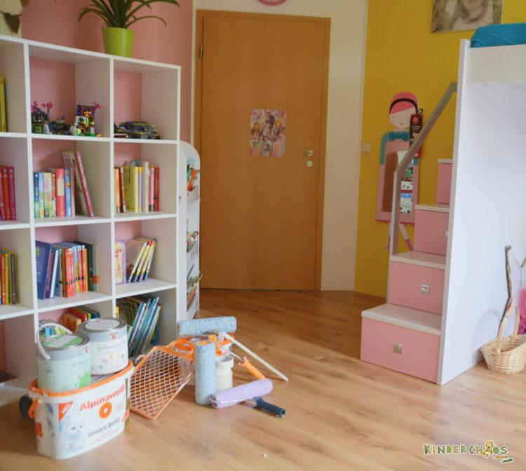 Alpina Farben Alpinaweiß Farbenfreunde Froschgrün Einhornrosa Kinderzimmer Schulkind Schulkindzimmer renovieren neu streichen