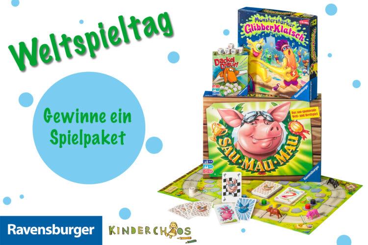 Verlosung zum Weltspieltag 2018: Gewinne ein Spielpaket Ravensburger Gesellschaftsspiele Sau Mau Mau Monsterstarker Glibberklatsch Dackel Drauf!