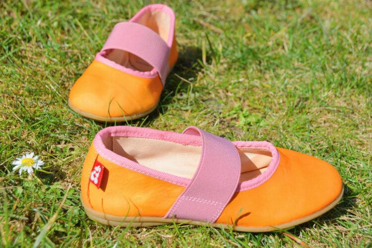 Pololo Ballerina Fleur orange rosa Leder Kinderschuhe Kinder Lederschuhe