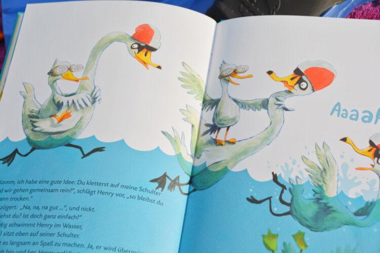 Schnabbeldiplapp Ein wasserscheues Bilderbuch Günther Jakobs Schwimmen lernen Kinderbuch