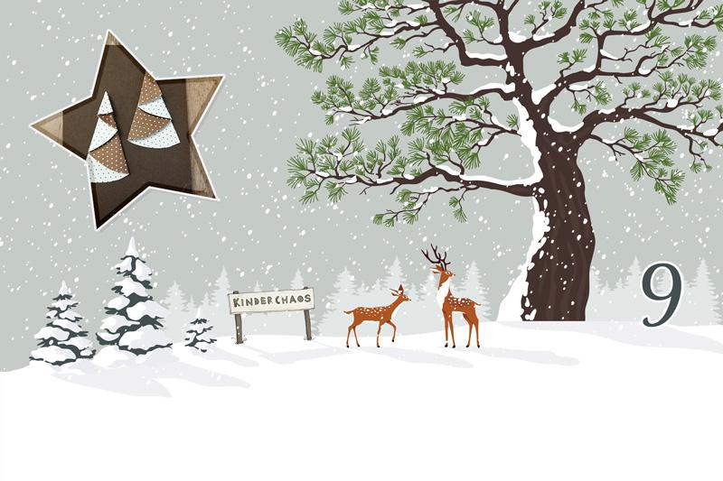 Bastelideen Tannenbaum.9 Adventskalendertür Tannenbaum Schneemann Weihnachtskarten