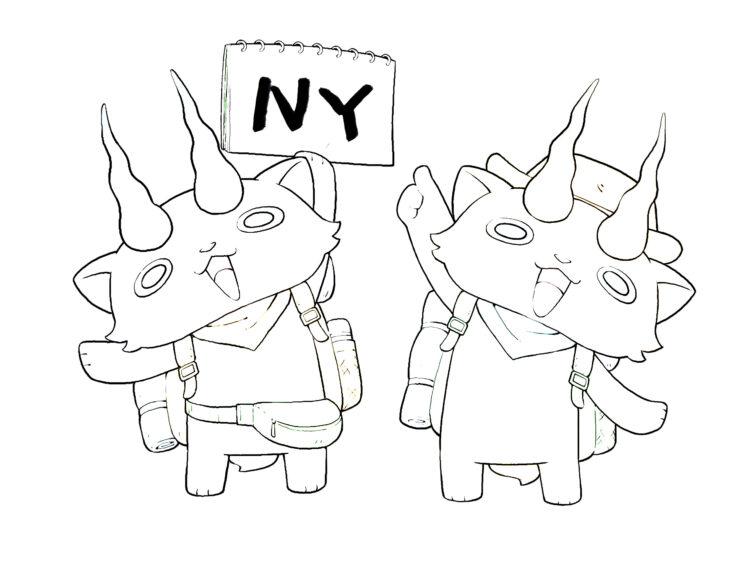 Ausmalbild Yo-kai KK-Brothers