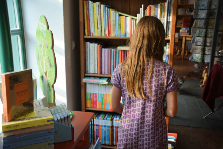 Kinderbuch-Ecke im Buchladen in Mirow