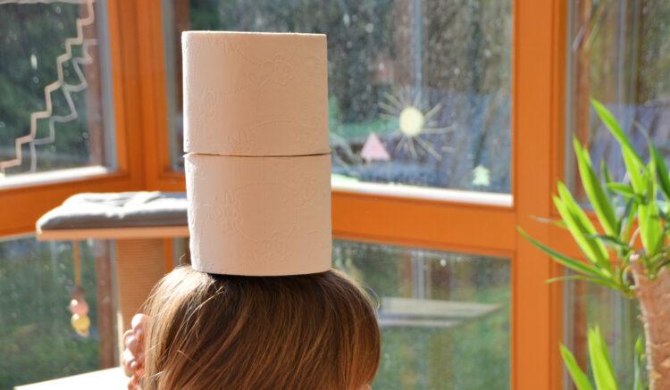 2Toilettenrollen auf dem Kopf