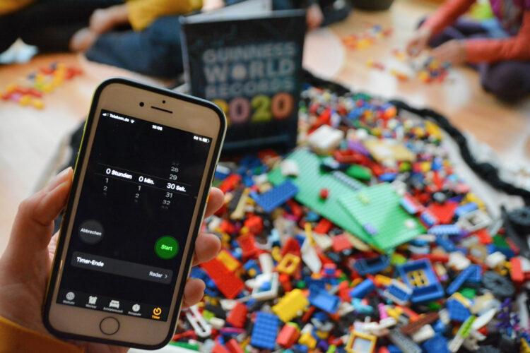 Legosteine Turmbau mit Timer
