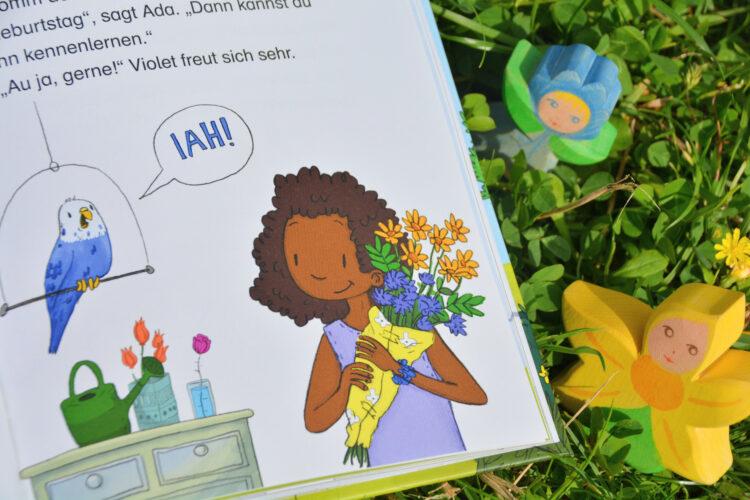 Ada sucht Blumen für den Esel