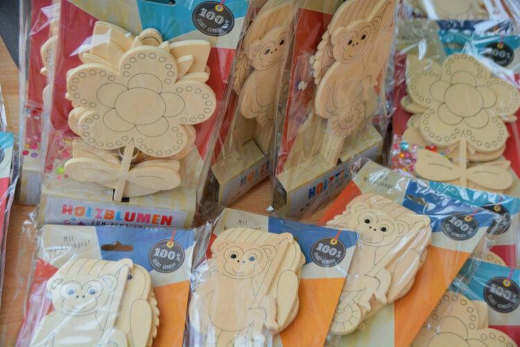 Holztiere Holzblumen Paket
