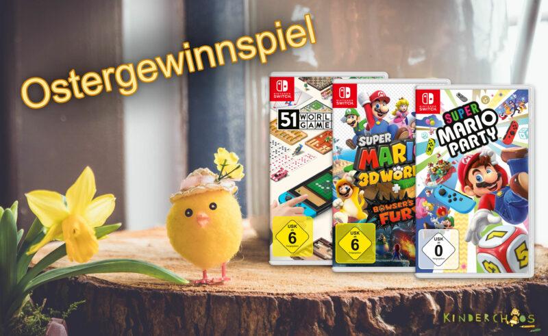 Ostergewinnspiel: Gewinne ein prall gefülltes Nintendo Switch-Spiele-Osterkörbchen!